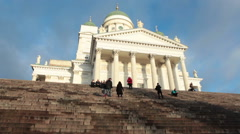 People are on the stair of the Helsinki Cathedral. Finland Stock Footage