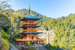 Seiganto-ji Pagoda And Nachi Falls In Wakayama, Japan Stock Photos