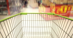Shopping Cart in Supermaket Stock Footage