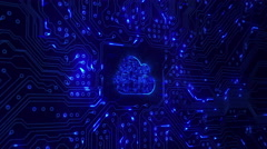 Cloud computing icon with a circuit board. Loopable. Zoom. Blue. 2 in 1. Stock Footage