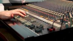 Fingers move the sliders on the mixer faders and twist knobs Sound Effects - stock footage