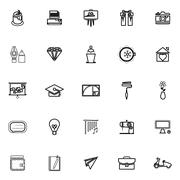 Art and creation line icons on white background - stock illustration