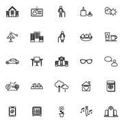 Retirement community line icons on white background - stock illustration