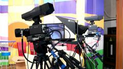 Professional equipment recording studio news television channel Stock Footage