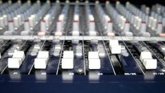Radio 4k Close-up of a large audio mixer faders slide view dolly - stock footage