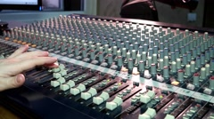 Radio 4k Sound DJ faders sliders move the fingers on the big sound mixer Stock Footage