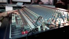 Radio Sound DJ faders sliders move fingers on the big sound mixer in studo - stock footage