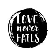 Modern calligrahpy Valentines Day love quote with round ink spot on the Stock Illustration