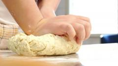Professional Chef Manually Knead Dough for Bread or Cake in Slow Motion Stock Footage