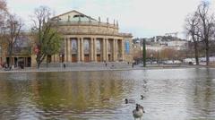 Opera Building In Stuttgart Stock Footage