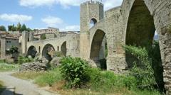 Medieval town with bridge. Besalu Stock Footage