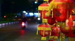 Lucky charm items in red and gold symbols lunar new year Stock Footage