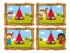 Children in indian costume by teepee Stock Illustration