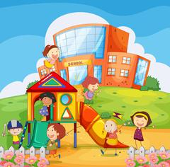 Children playing in the school playground Stock Illustration