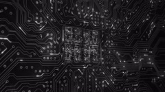 Futuristic circuit board with moving electrons. 2 in 1. 180 shot. White. - stock footage