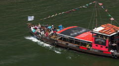 Passengers in a cruise on the Douro river in Tourist boat in Porto, Portugal Stock Footage