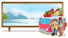 Family trip to the beach Stock Illustration