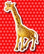Cute giraffe on red background Stock Illustration