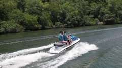 Couple on jet ski. Water scooter Stock Footage