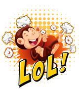 Little monkey laughing on the floor Stock Illustration