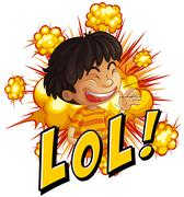 Little boy with wording laugh out loud Stock Illustration
