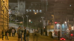 The crossroads with the Sao Bento Railway Station and Porto Cathedral timelapse Stock Footage