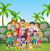 Family photo shooting in the park Stock Illustration