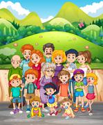 Family members in the park Stock Illustration