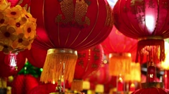 Lucky charm items in red and gold symbols lunar new year - stock footage