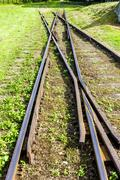 the crossing of normal and narrow gauge, Elk, Warmian-Masurian Voivodeship, P - stock photo