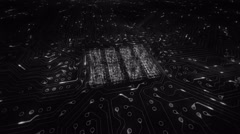 Futuristic circuit board with moving electrons. 360. Loopable. White. - stock footage