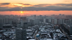 Moscow. Sunset with clouds over buildings timelapse, Russia Stock Footage