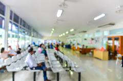 Blurred background : Groups of people queuing waiting medication in hospital Stock Photos