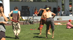 Dancing at festival, hippies and kids Stock Footage