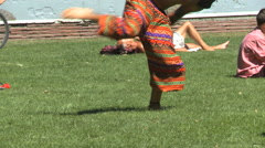 Dancing at festival, barefoot hippies, no faces #2 Stock Footage