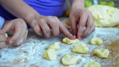 Mother and son playing with dough Stock Footage