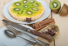 Kiwi  pie tart and spices Stock Photos