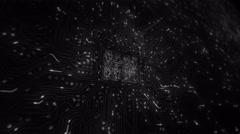 Futuristic circuit board with moving electrons. Loopable. 2 in 1. Locked. White. - stock footage