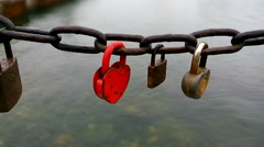 Red padlock in the shape of heart - stock footage
