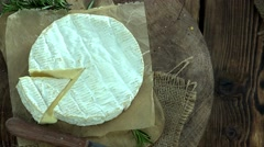 Portion of creamy Camembert (4k footage; not loopable) - stock footage