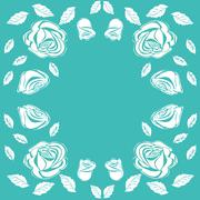 Floral frame vintage rose - stock illustration