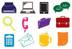 Business and office icons Stock Illustration