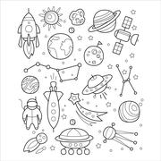 Space Objects in Handdrawn Style. Vector Illustration Stock Illustration