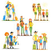 Families on Vacation. Vector Illustration Piirros