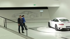 Interior And Exhibits Of Porsche Museum Stock Footage
