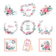 Floral Vintage Illustrations for Cards and Decor. Vector Illustration Set - stock illustration