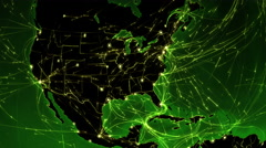 World connections. USA. Green. Locked. More options in my portfolio. Stock Footage