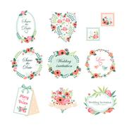 Floral Vintage Illustrations for Cards and Decor. Vector Set Stock Illustration
