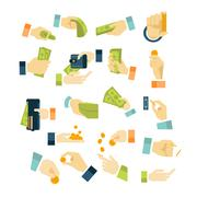 Money in Hands Icons Flat Style Set - stock illustration