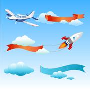 Plane and Rocket with Long Danners for Text on a Background of Sky - stock illustration